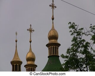 Cathedral in Kiev, Ukraine - Cathedral with gold spires in...