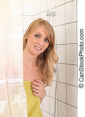 portrait of a young woman in shower