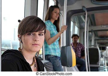 Young woman on a tram