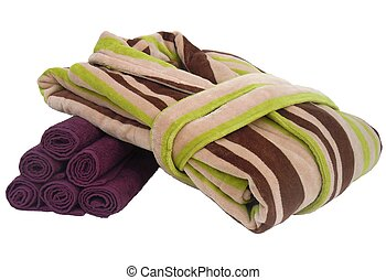 bathrobe and towels - colorful bathrobe and purple rolled...