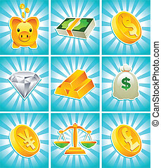 Gold Money Icons - Vector set of gold, money and financial...