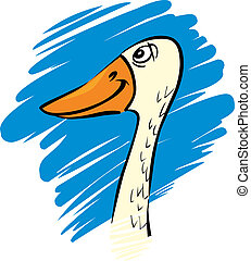 funny goose - cartoon humorous illustration of funny farm...