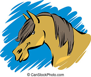 funny horse - cartoon humorous illustration of funny farm...