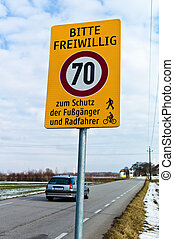 home-made road sign for voluntary speed limit. for the...