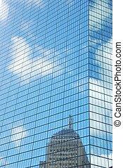 Skyscraper facade - Close-up of the facade of a glass...