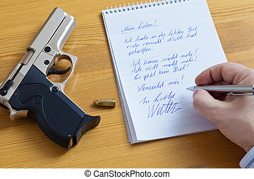 a farewell letter and the gun of a suicide.
