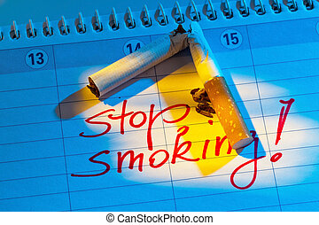 giving up smoking. good resolution in the calendar to be non...