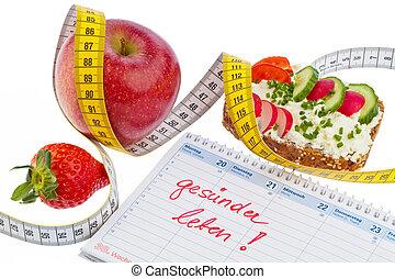 maçã, fita, medida, pão, legumes,...