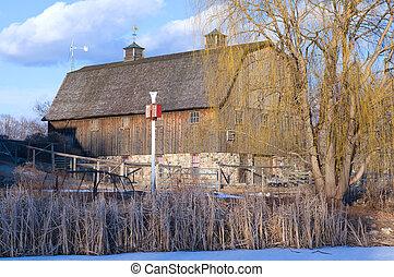 Barn at Farm Pond - Barn and surrounding farm at edge of...