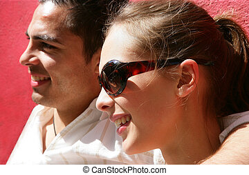 Couple enjoying a sunny day out together