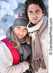 Wintry young couple