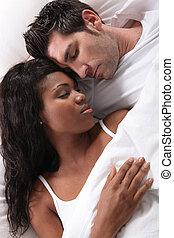 interracial, pareja, sueño