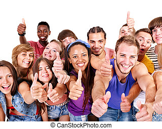 Group people. - Multi-ethnic group people.  Isolated.