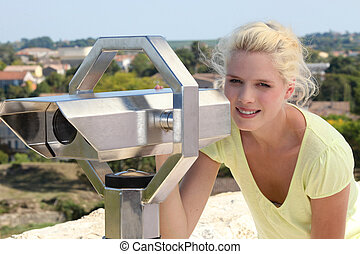 portrait of a woman on scenic view point