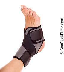 Trauma of ankle brace. - Trauma of ankle in brace. Isolated.