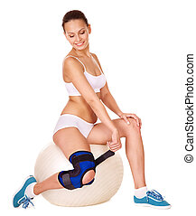Woman with knee brace Isolated