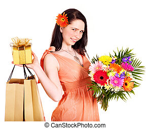 Girl with spring flower, shopping bag and gift box - Girl...