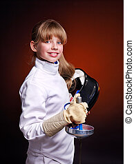 Child epee fencing lunge Dark background