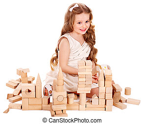 Child play building blocks - Happy child play building...