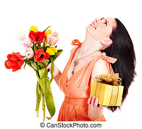 春, 箱, 花, 女の子, 贈り物