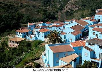 Juzcar, blue Andalusian village - painted blue Andalusian...