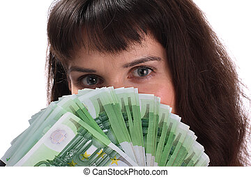 Woman with money euro.