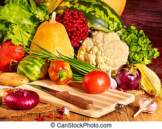 Vegetable on wooden boards. - Fresh vegetable on wooden...