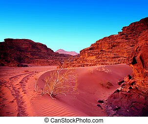 Sunset in jordan desert wadi rum. Famous place.