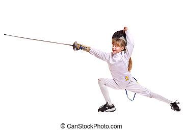 enfant, épée, escrime, Mouvement