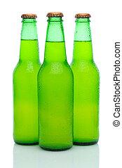 Three Lemon Lime Soda Bottles on White