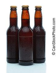 Three Beer Bottles on White