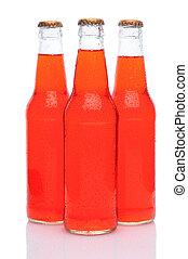 Three Strawberry Soda Bottles on White