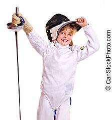 Child in fencing costume holding epee Isolated