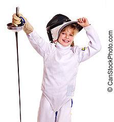 escrime,  épée, déguisement, tenue, enfant