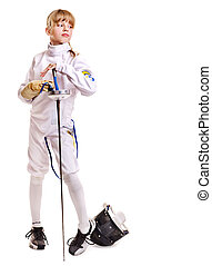 Child in fencing costume holding epee . Isolated.