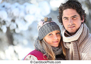 Couple walking outside on a winters day
