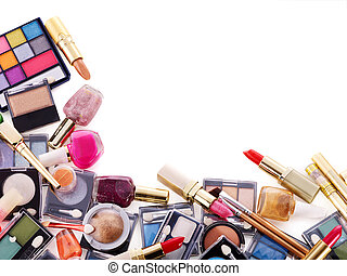 Decorative cosmetics for makeup Copy space