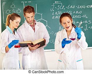 Grupo, Química, estudante, frasco