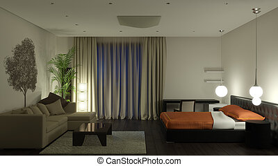 Guest room at night. It's 3D image.