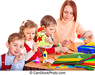 Kindergarden teacher with children. - Kindergarden teacher...