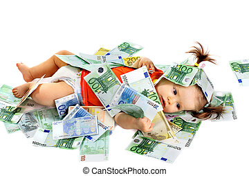 Child with euro money. Business concept.How much it costs to...