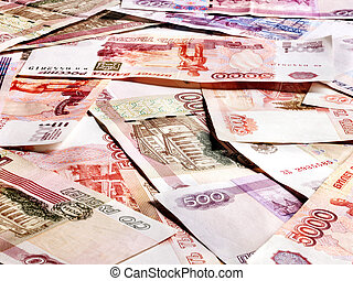 Background of money Russian rouble. Close up.