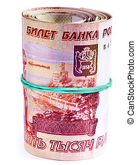 Roll of money (Russian rouble). - Roll of money (Russian...
