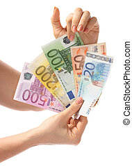 Money euro in hand Isolated