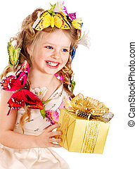 Child with gift box.