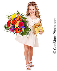 Child with spring flower and gift box - Little girl with...