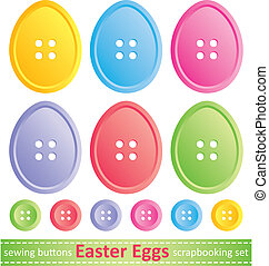 set of easter eggs - set of stylized easter eggs, sewing...