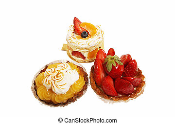 Pastry, cake isolated on a white background