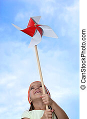 風車, 很少, 玩具, 女孩, 玩