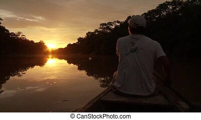 Boat On Amazon in Sunset - Sunset On Amazon River